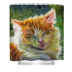 Happy Sunbathing 2 Shower Curtain by Hailey E Herrera