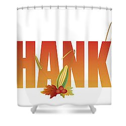 Happy Thanksgiving Text With Fruits And Vegetable Illustration Shower Curtain by Jit Lim