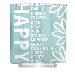 Happy Things Blue Shower Curtain by Linda Woods