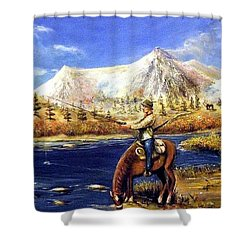 Shower Curtain featuring the painting Happy Trails by Bernadette Krupa