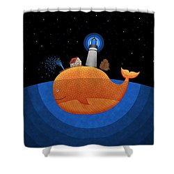 Happy Whale House Shower Curtain by Gianfranco Weiss