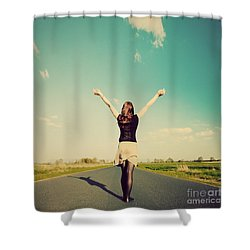 Happy Woman Standing On Empty Road Retro Vintage Style Shower Curtain by Michal Bednarek