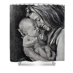 Happy Young Mother Shower Curtain by Ylli Haruni