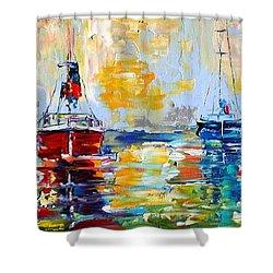 Harbor Boats At Sunrise Shower Curtain by Karen Tarlton