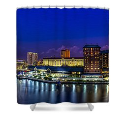 Harbor Island Nightlights Shower Curtain by Marvin Spates