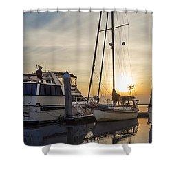Harbor Light Shower Curtain by Debra and Dave Vanderlaan
