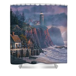 Harbor Light Hideaway Shower Curtain by Michael Humphries