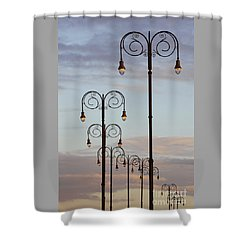 Shower Curtain featuring the photograph Harbor Lights by PJ Boylan