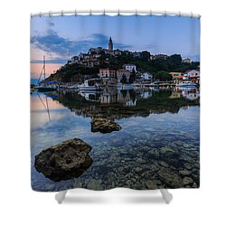 Harbor Reflection Shower Curtain by Davorin Mance
