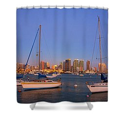 Harbor Sailboats Shower Curtain