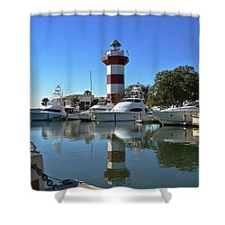 Harbor Town Lighthouse Shower Curtain