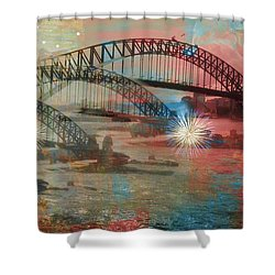Harbour In Abstraction Shower Curtain by Leanne Seymour