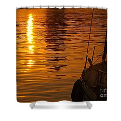 Harbour Sunset Shower Curtain by Clare Bevan