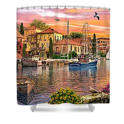 Harbour Sunset Shower Curtain by Dominic Davison