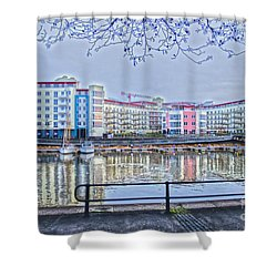 Harbourside Flats Shower Curtain by Brian Roscorla