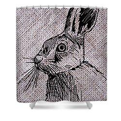 Hare On Burlap Shower Curtain