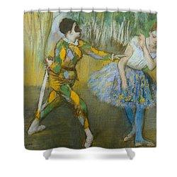 Harlequin And Columbine Shower Curtain by Edgar Degas
