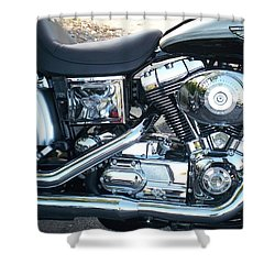 Harley Black And Silver Sideview Shower Curtain
