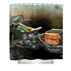 Harley Davidson 1942 Experimental Army Shower Curtain by Barbara McMahon
