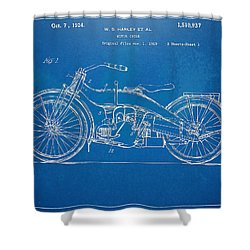 Harley Davidson Motorcycle 1924 Patent Artwork Shower Curtain