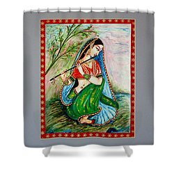 Shower Curtain featuring the painting Harmony by Harsh Malik