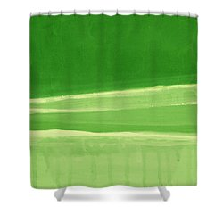 Harmony In Green Shower Curtain by Linda Woods
