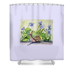 Harold In The Violets Shower Curtain by Angela Davies