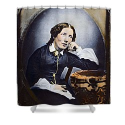 Harriet Beecher Stowe (1811-1896). American Abolitionist And Writer. Oil Over A Daguerrotype, C1852 Shower Curtain by Granger