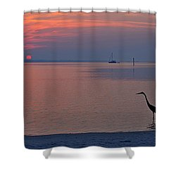 Shower Curtain featuring the photograph Harry The Heron Fishing On Santa Rosa Sound At Sunrise by Jeff at JSJ Photography