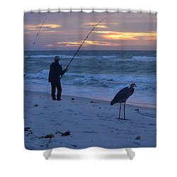 Shower Curtain featuring the photograph Harry The Heron Fishing With Fisherman On Navarre Beach At Sunrise by Jeff at JSJ Photography