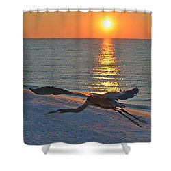 Shower Curtain featuring the photograph Harry The Heron Takes Flight To Reposition His Guard Over Navarre Beach At Sunrise by Jeff at JSJ Photography