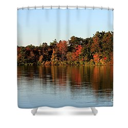 Hart Pond Golden Hour Shower Curtain by Kenny Glotfelty