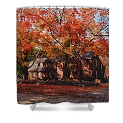 Shower Curtain featuring the photograph Hartwell Tavern Under Canopy Of Fall Foliage by Jeff Folger