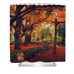 Shower Curtain featuring the photograph Hartwell Tavern Under Orange Fall Foliage by Jeff Folger