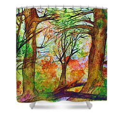 Harvest Moon  Shower Curtain by Janet Immordino