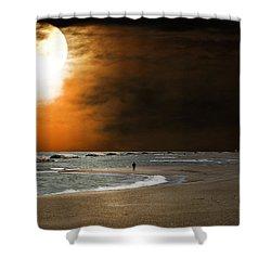 Harvest Moon On The Beach Shower Curtain