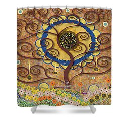 Shower Curtain featuring the tapestry - textile Harvest Swirl Tree by Kim Prowse