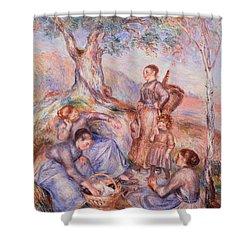 Harvesters Breakfast Shower Curtain by Pierre-Auguste Renoir