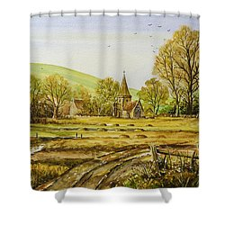 Harvesting Fields Shower Curtain by Andrew Read