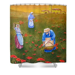 Harvesting Poppies In Tuscany Shower Curtain by Pamela Allegretto
