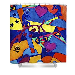 Shower Curtain featuring the painting Harvesting The Love Kokopelli Art  by Lori Miller