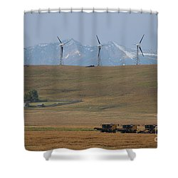 Shower Curtain featuring the photograph Harvesting Wind And Grain by Ann E Robson