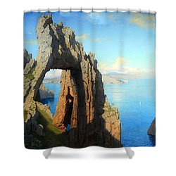 Haseltine's Natural Arch At Capri Shower Curtain by Cora Wandel