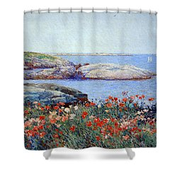 Hassam's Poppies On The Isles Of Shoals Shower Curtain by Cora Wandel