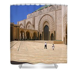 Shower Curtain featuring the photograph Hassan II Mosque Grand Mosque Sour Jdid Casablanca Morocco by Ralph A  Ledergerber-Photography