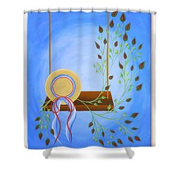 Shower Curtain featuring the painting Hat On A Swing by Ron Davidson
