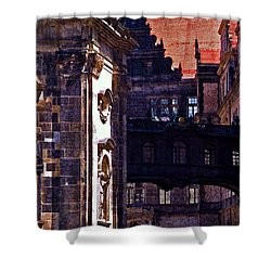 Shower Curtain featuring the photograph Hausmann Tower In Dresden Germany by Jordan Blackstone