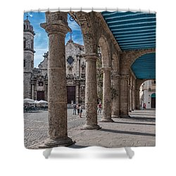 Havana Cathedral And Porches. Cuba Shower Curtain