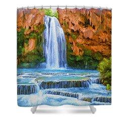 Havasu Falls Shower Curtain by David Wagner