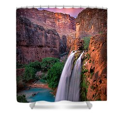 Havasu Falls Shower Curtain by Inge Johnsson